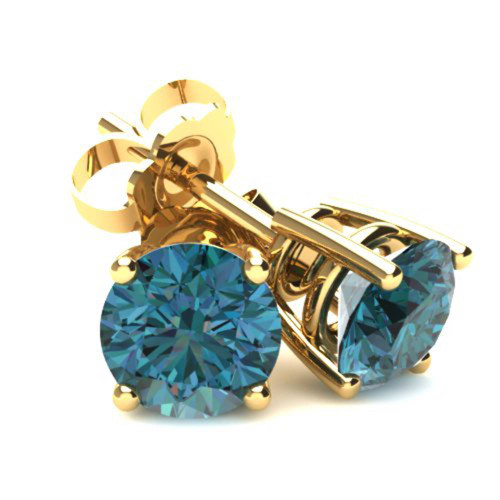 1.25Ct Round Brilliant Cut Heat Treated Blue Diamond Stud Earrings in 14K Gold Basket Setting (Blue, SI2-I1)
