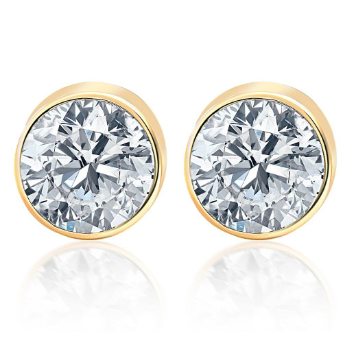 2.00Ct Round Brilliant Cut Natural Quality SI1-SI2 Diamond Stud Earrings in 14K Gold Round Bezel Setting (G/H, SI1-SI2)