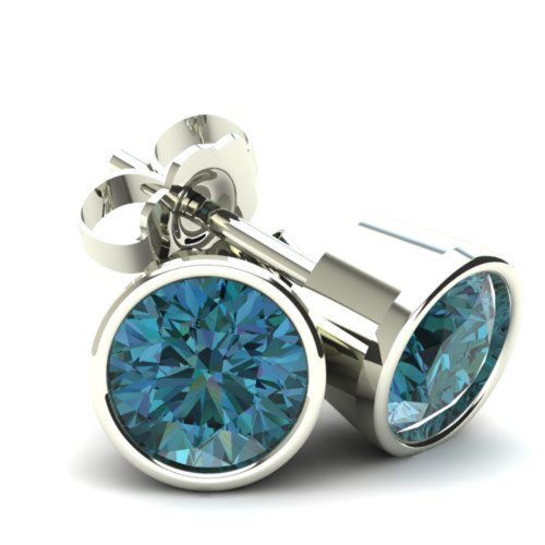1.00Ct Round Brilliant Cut Heat Treated Blue Diamond Stud Earrings in 14K Gold Round Bezel Setting (Blue, SI2-I1)