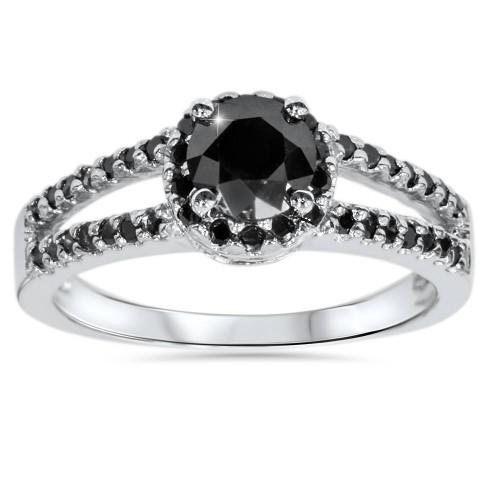 2CT Black Diamond Split Shank Halo Engagement Ring 14K White Gold (Black, )