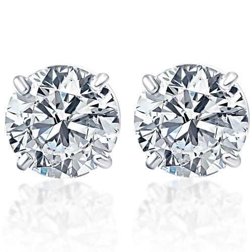 2.00Ct Round Brilliant Cut Natural Diamond Stud Earrings14K Gold Basket Setting (G/H, I2-I3)