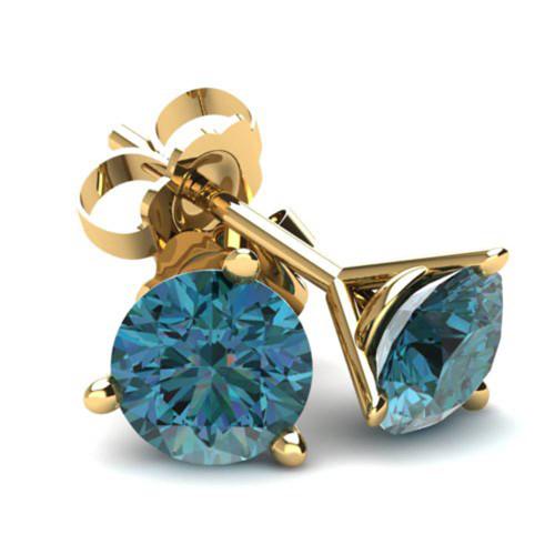 1.00Ct Round Brilliant Cut Heat Treated Blue Diamond Stud Earrings in 14K Gold Martini Setting (Blue, SI2-I1)