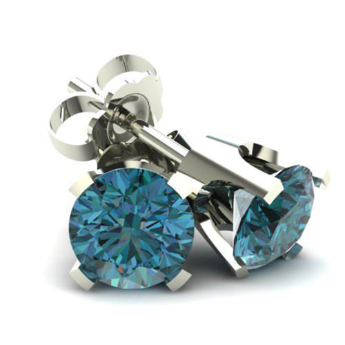 1.00Ct Round Brilliant Cut Heat Treated Blue Diamond Stud Earrings in 14K Gold Classic Setting (Blue, SI2-I1)