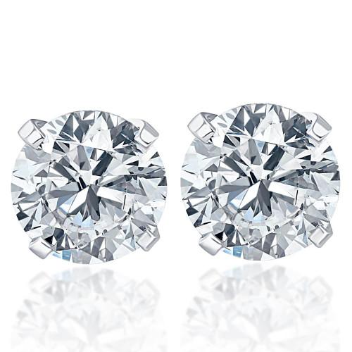 1.25Ct Round Brilliant Cut Natural Quality VS2-SI1 Diamond Stud Earrings in 14K Gold Classic Setting (G/H, VS2-SI1)