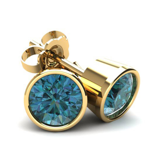 1.50Ct Round Brilliant Cut Heat Treated Blue Diamond Stud Earrings in 14K Gold Round Bezel Setting (Blue, SI2-I1)