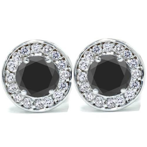 "5/8ct Black & Diamond Round Halo Studs 14K White Gold 1/3"" (G-H, I2)"