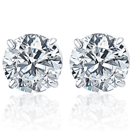 1.50Ct Round Brilliant Cut Natural Quality VS2-SI1 Diamond Stud Earrings in 14K Gold Basket Setting (G/H, VS2-SI1)