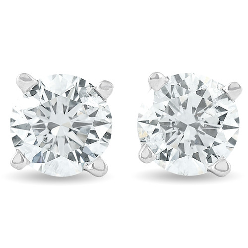 1.25Ct Round Brilliant Cut Natural Diamond Stud Earrings in 14K Gold Basket Setting (J-K, I2-I3)
