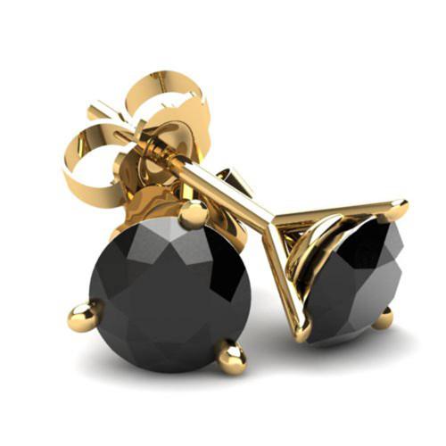 .85Ct Round Brilliant Cut Heat Treated Black Diamond Stud Earrings in in 14K Gold Martini Setting (Black, AAA)