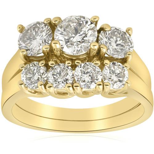 3ct Three Stone Diamond Ring Set 14K Yellow Gold (H, I1)