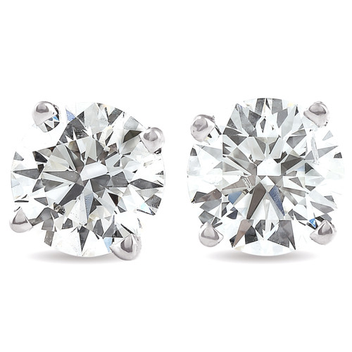 1.50 Ct Round Cut Natural Diamond Studs in 14K White or Yellow Gold (G/H, I2-I3)