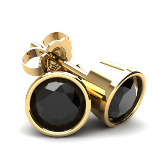 .20Ct Round Brilliant Cut Heat Treated Black Diamond Stud Earrings 14K Gold Round Bezel Setting (Black, AAA)