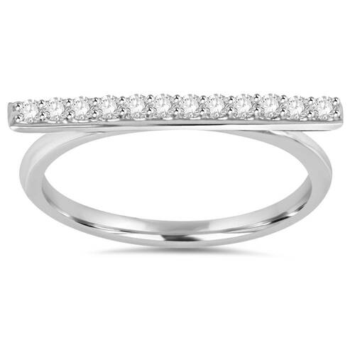 1/5CT Diamond Bar Ring 10K White Gold (H/I, I1-I2)