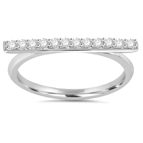 1/5CT Diamond Bar Ring 10K White Gold (H/I, I1-I2)