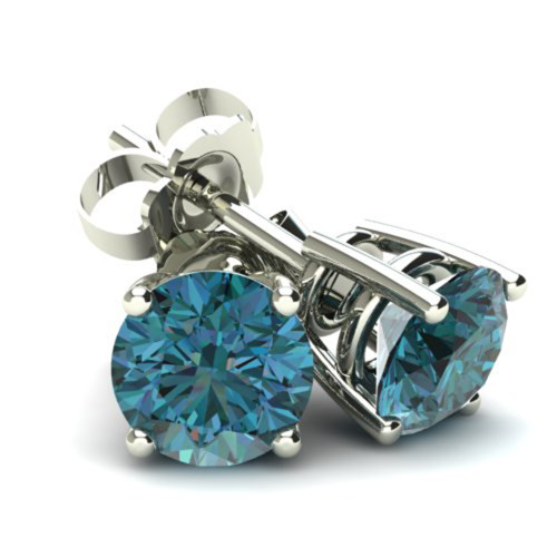 1/2Ct Round Brilliant Cut Heat Treated Blue Diamond Stud Earrings in 14K Gold Basket Setting (Blue, SI2-I1)