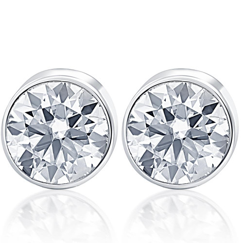 1.50Ct Round Brilliant Cut Natural Quality VS2-SI1 Diamond Stud Earrings in 14K Gold Round Bezel Setting (G/H, VS2-SI1)