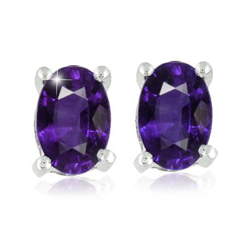 1 1/5ct Oval Genuine Amethyst Studs 14K White Gold