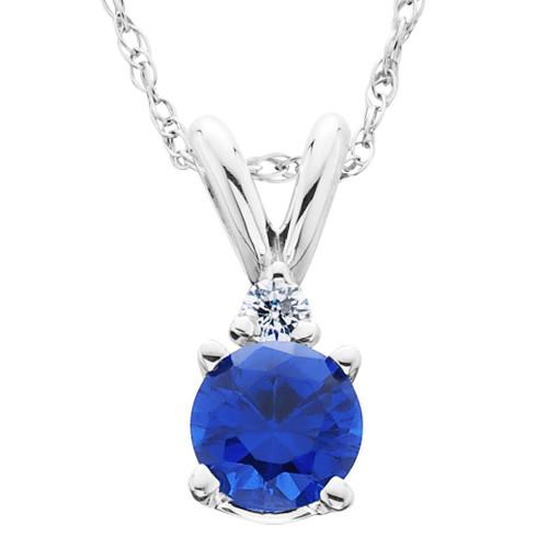 1/2Ct Synthetic Blue Sapphire & Natural Diamond Solitaire Pendant 14K White Gold (J/K, I2-I3)