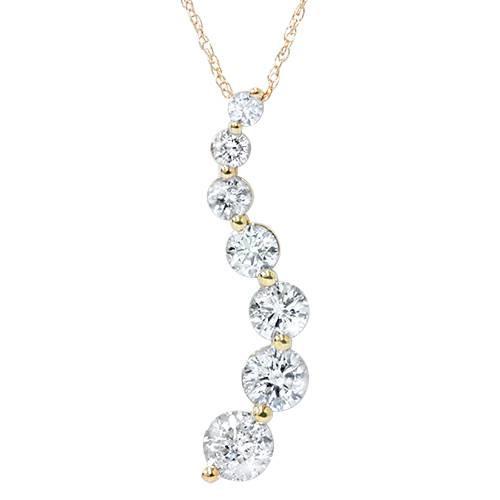2ct HUGE Diamond Journey Pendant 14K Yellow Gold (G/H, I1)