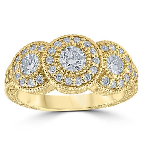 1 1/2ct Antique Diamond 3 Stone Ring 14K Yellow Gold (H/I, I1-I2)