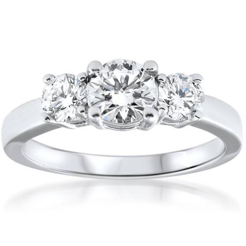 1 1/2 Ct Three Stone Diamond Engagement Ring 14k White Gold ((G-H), SI(1)-SI(2))