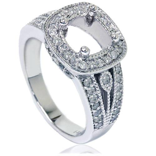 3/4ct Cushion Halo Diamond Ring Setting 14K White Gold (G/H, I1-I2)