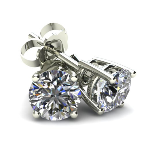2.00Ct Round Brilliant Cut Natural Quality VS2-SI1 Diamond Stud Earrings in 14K Gold Basket Setting (G/H, VS2-SI1)