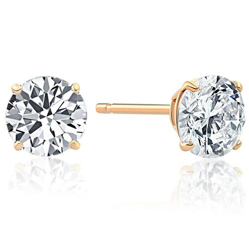 1.00Ct Round Brilliant Cut Natural Quality VS2-SI1 Diamond Stud Earrings in 14K Gold Basket Setting (G/H, VS2-SI1)