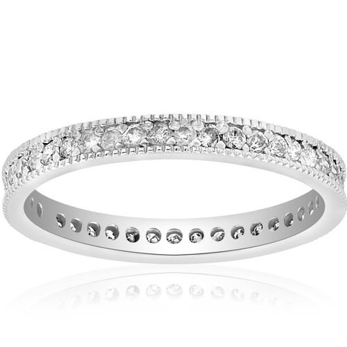 3/8ct Diamond Eternity Milgrain Wedding Ring 14K White Gold (G/H, I1-I2)
