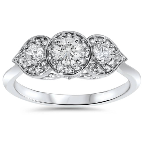 1/2ct Vintage 3 Stone Floral Petal Diamond Engagement Ring 14K White Gold (H/I, I1-I2)