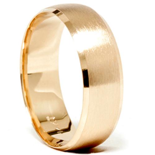 Mens 14k Gold 8mm Beveled Brushed Wedding Ring Band New