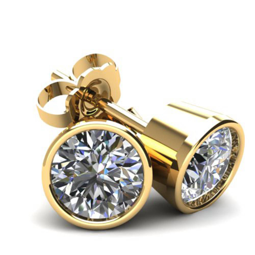 2.00Ct Round Brilliant Cut Natural Quality VS2-SI1 Diamond Stud Earrings in 14K Gold Round Bezel Setting (G/H, VS2-SI1)