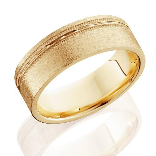 Mens 6mm Flat Brushed Offset Wedding Band 14K Yellow Gold