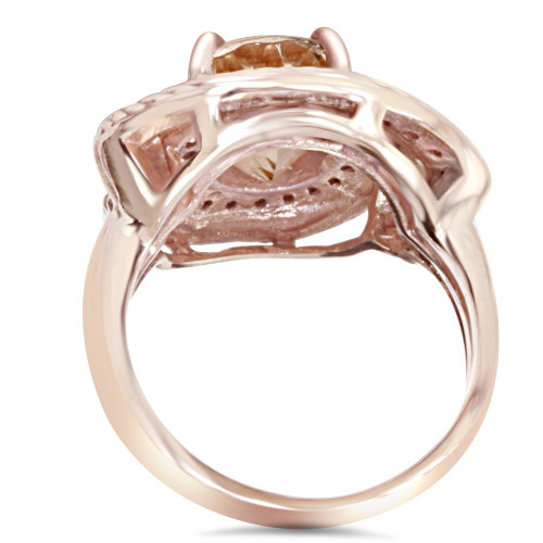 2 3/8CT Morganite Vintage Diamond Ring 14K Rose Gold (H/I, I1-I2)