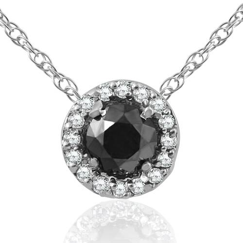 1/2 ct Black & White Diamnd Pave Halo Solitaire Pendant Necklace 14K Whte Gold (J/K, I2-I3)