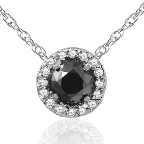 1/2 ct Black & White Diamnd Pave Halo Solitaire Pendant Necklace 14K Whte Gold (J/K, I2-I3)