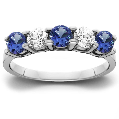 1 cttw Blue Sapphire & Diamond 5-Stone Wedding Anniversary Ring 14k White Gold (H/I, I1-I2)