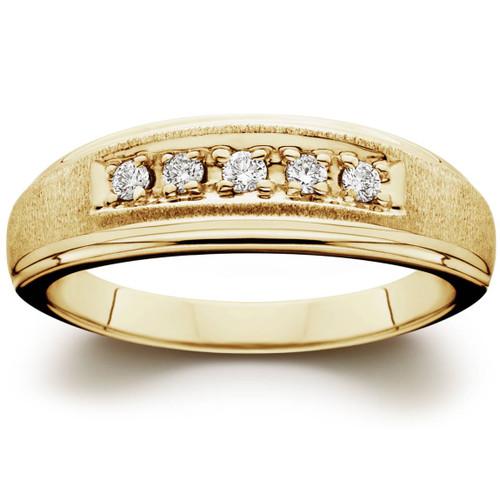 Mens 1/6ct 14K Yellow Gold Diamond Wedding Ring Band (G/H, I2)