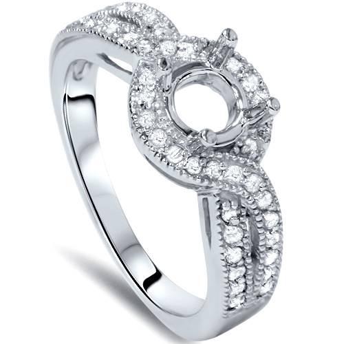 1/3ct Vintage Diamond Semi Mount Engagement Ring Setting (G/H, I1)