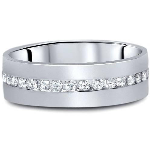 1 1/10ct Diamond Mens Eternity Wedding Ring 8mm 14K White Gold (G/H, I1)