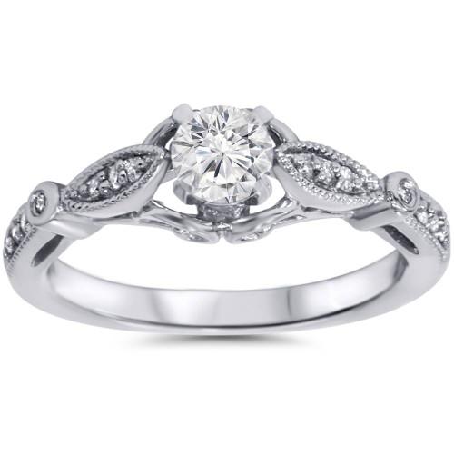 5/8ct Vintage Round Diamond Engagement Ring 14K White Gold (G/H, I1-I2)