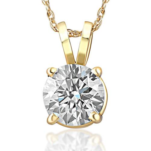 3/4ct Diamond Solitaire Pendant 14K Yellow Gold (J/K, I2-I3)