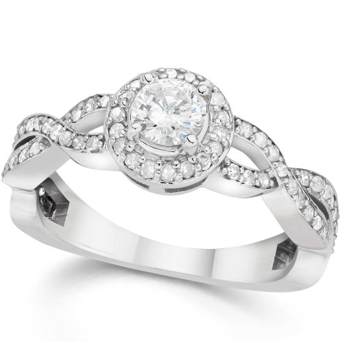 7/8ct Infinity Diamond Engagement Halo Ring 14K White Gold (G/H, I1-I2)