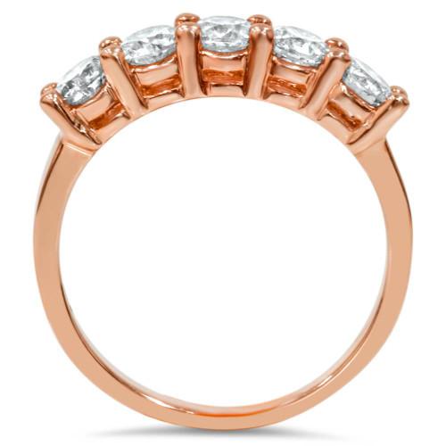 1 1/2CT 5 Stone Diamond Wedding Ring 14K Rose Gold (H/I, I1-I2)