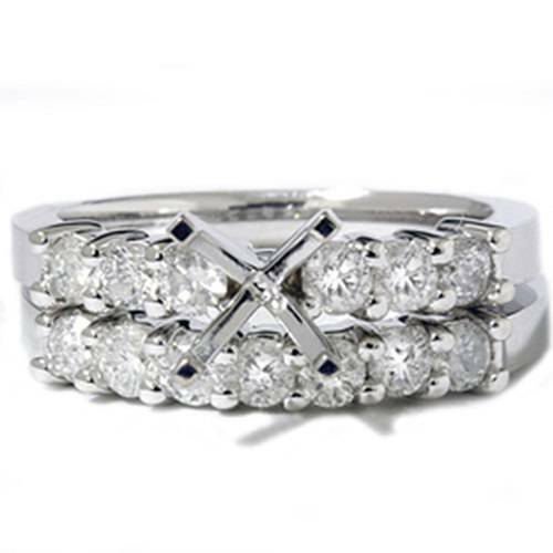 1ct Diamond Engagement Matching Wedding Ring Setting (G/H, I1)