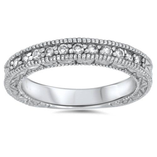 1/3ct Diamond Ring Vintage Antique Wedding Womens Band 14K White Gold (G/H, I1)