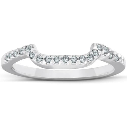 1/6ct Curved Notched Diamond Wedding Ring 14K White Gold (G/H, I2-I3)