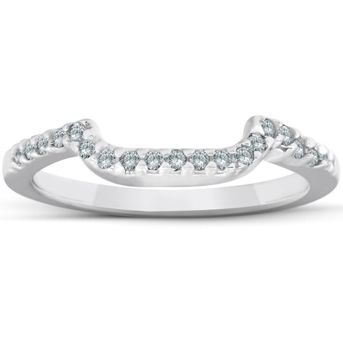 1/6ct Curved Notched Diamond Wedding Ring 14K White Gold (G/H, I2-I3)