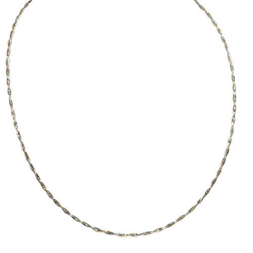 """14K White & Yellow Gold Two Tone Twisted Spring Wire Necklace 16"""""""