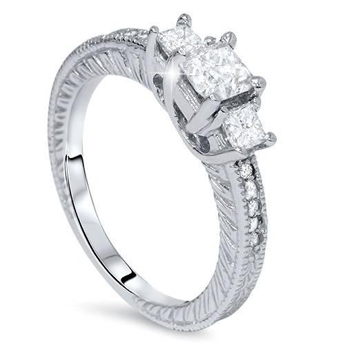 3/4ct Vintage Three Stone Princess Cut Diamond Engagement Ring 14K White Gold (H, SI2)